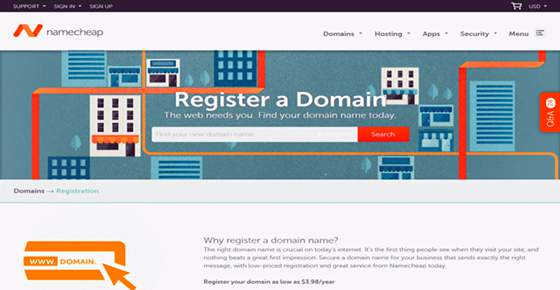 register domain at namecheap