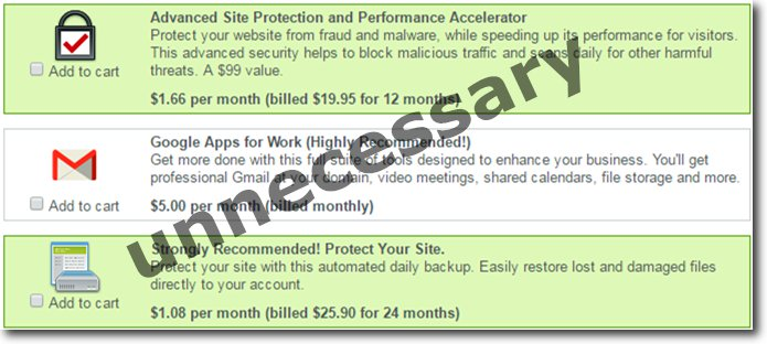 cheap web hosting unnecessary addons