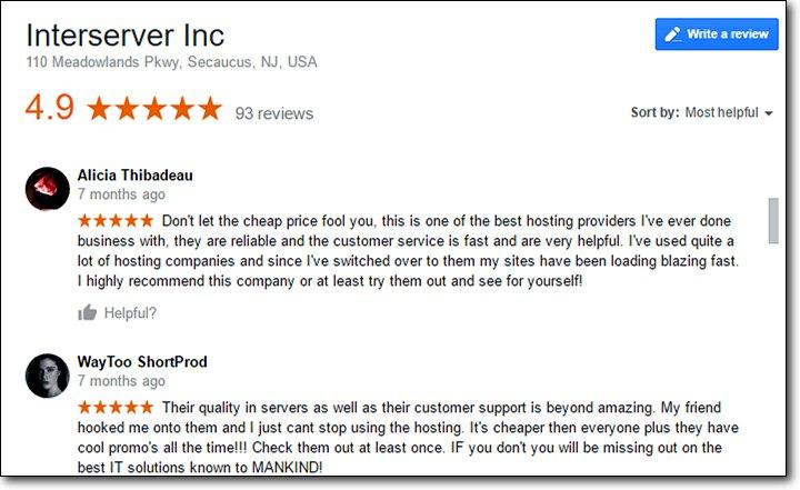 interserver review - google customer reviews