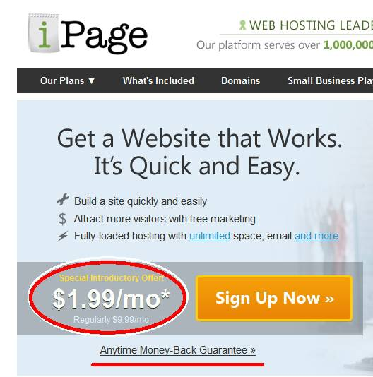 ipage cheap hosting promotion at 1.99 per month