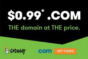 Godaddy $0.99 .com domain name coupon